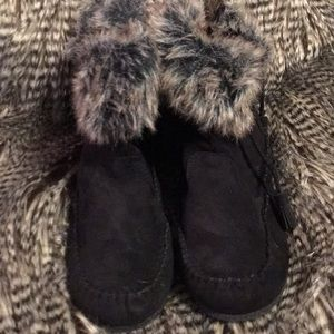 Madden Girl black suede and faux fur booties